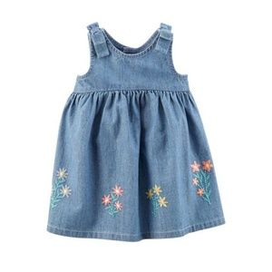 { carter's } embroidered flowers chambray dress